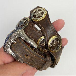 Vintage Brown Leather Star Sheriff Belt